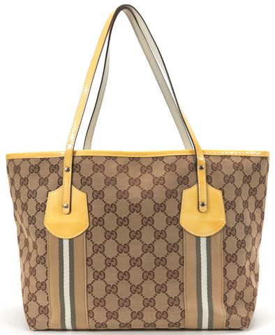 GUCCI Brown GG Canvas Jolie Web Charm Tote Handbag