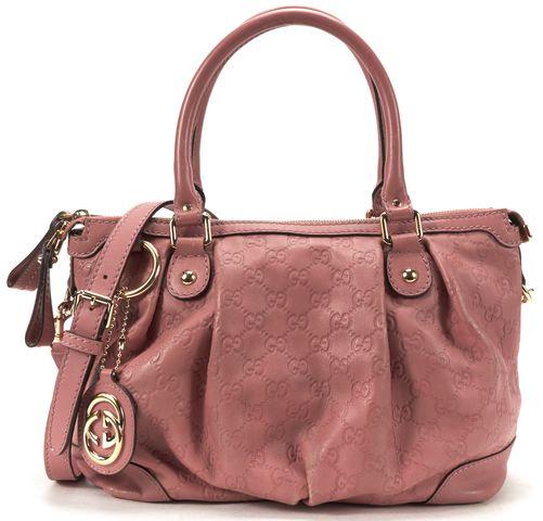 GUCCI Pink GG Guccissima Leather Sukey Satchel Handbag