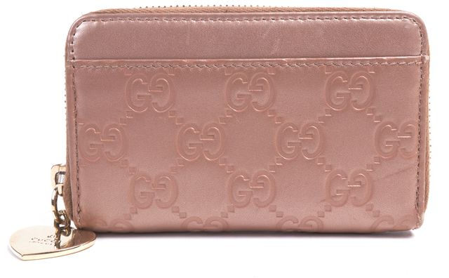 GUCCI Pink Leather Guccissima Zip Around Coin Purse Wallet