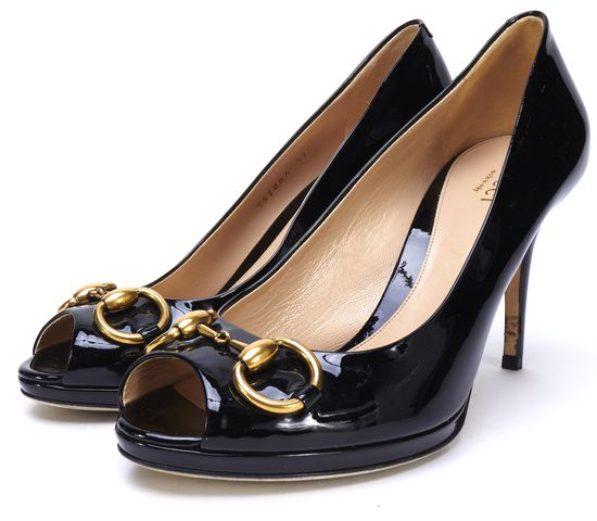 GUCCI Black Patent Leather Horsebit Peep Toe Pumps
