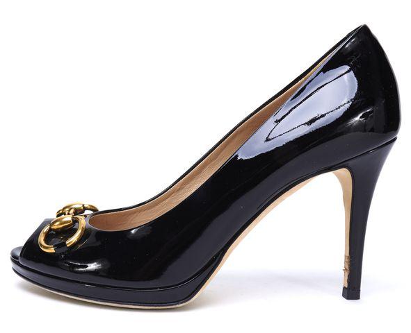 GUCCI Black Patent Leather Horsebit Peep Toe Pumps Size 37.5