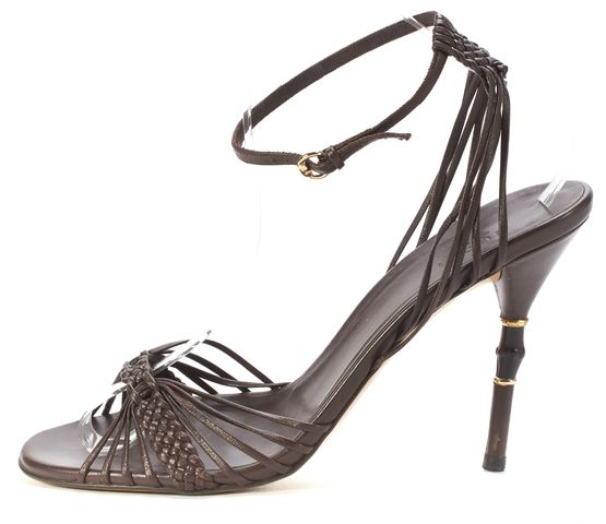 GUCCI Brown Leather Open-toe Ankle Strap Bamboo Heels