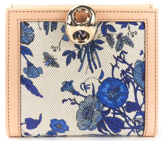 GUCCI CIvory Blue Floral Printed Canvas Nude Leather Wallet