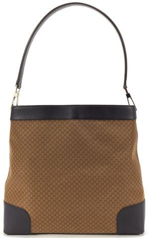 GUCCI Brown Nylon Leather Trim GG Nero Shoulder Bag