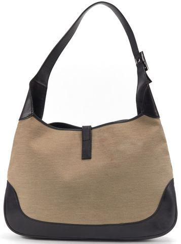 GUCCI Beige Canvas Black Leather Shoulder Bag