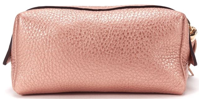 GUCCI Pink Metallic Soho Leather Cosmetic Pouch w/ Box