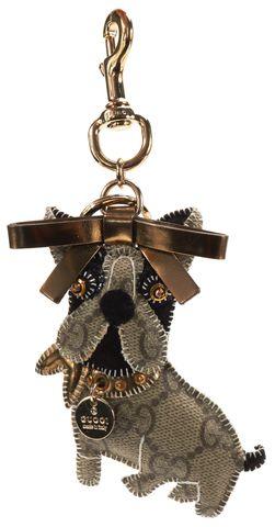 GUCCI Brown GG Canvas Leroy French Bulldog Keychain w/ Box