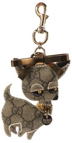 GUCCI Brown GG Canvas Chihuahua Keychain w/ Box