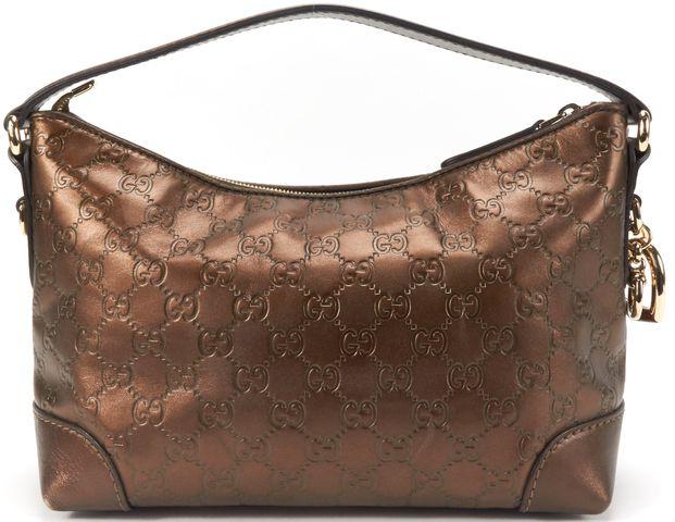 GUCCI Brown GG Guccissima Leather Bamboo Charm Handbag