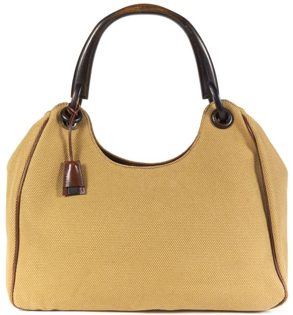 GUCCI Khaki Canvas Wooden Handle Leather Trim Hobo Shoulder Bag