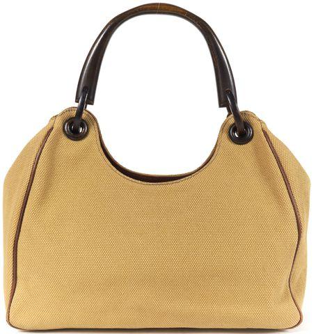 GUCCI Khaki Canvas Wooden Handle Leather Trim Hobo Shoulder Bag