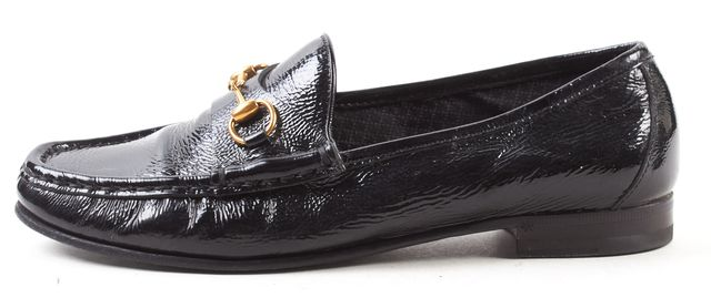 GUCCI Black Patent Leather Horsebit Details Slide-On Loafers