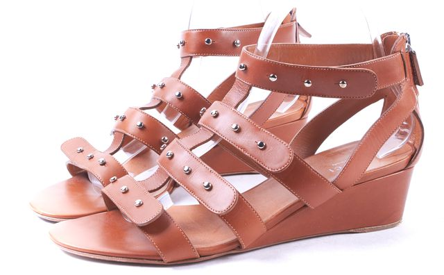 GUCCI Tan Leather Studded Stappy Sandal Wedge Size 39