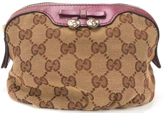 GUCCI Authentic Brown GG Canvas Bow Cosmetic Pouch