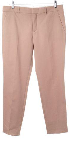 GUCCI Beige Flat Front Slim Leg Trousers Pants