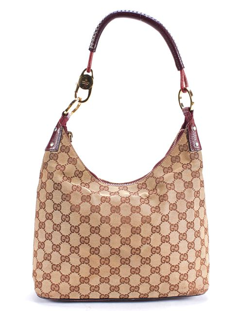 GUCCI Brown Beige GG Monogram Canvas Shoulder Bag