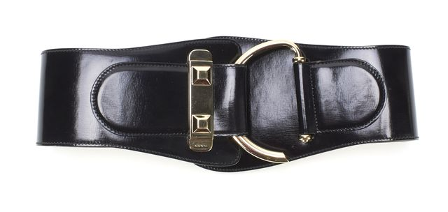 GUCCI Black Leather Elastic Back Wide Belt