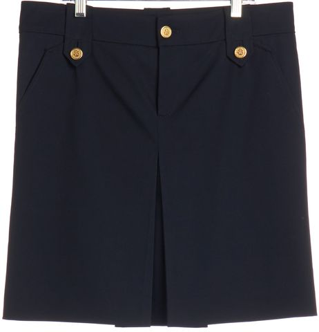 GUCCI Navy Blue Wool Straight Skirt