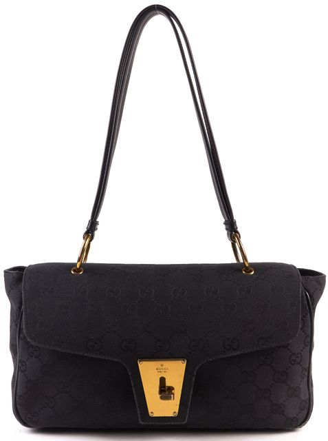 GUCCI Black Canvas GG Monogram Shoulder Bag