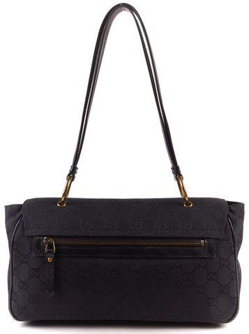 GUCCI Black Canvas GG Monogram Shoulder Bag