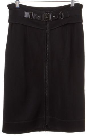 GUCCI Black Stretch Knit Zip Buckle Skirt