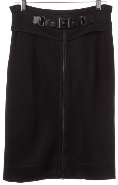 GUCCI Black Stretch Knit Zip Buckle Skirt