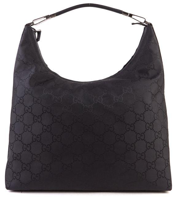 GUCCI Black Monogram Canvas Leather Strap Shoulder Bag