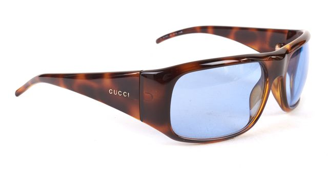 GUCCI Brown Blue Tortoise Acetate Frame Sunglasses