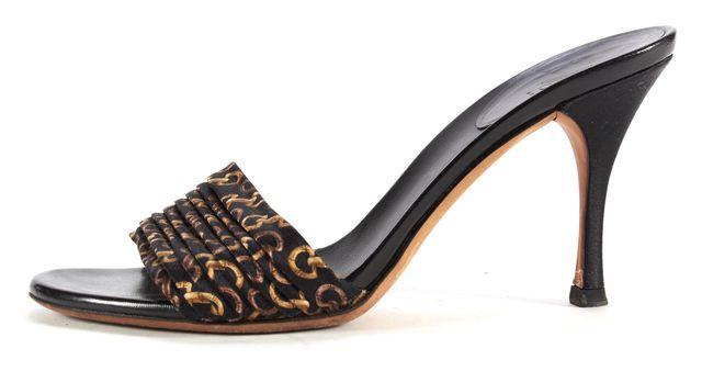 GUCCI Black Multi Horsebit Ruched Fabric Slide-On Heeled Sandals