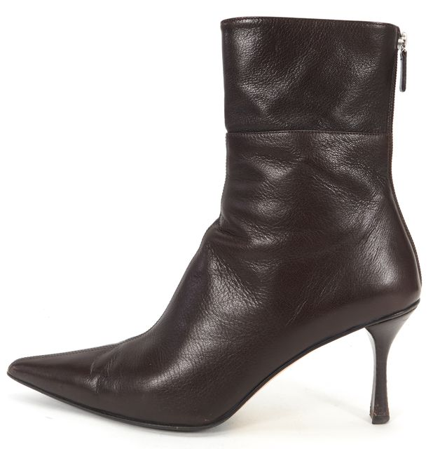 GUCCI Brown Leather Pointed-Toe Low Heel Ankle Boots