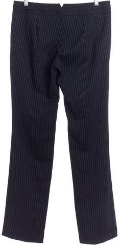 GUCCI Blue White Wool Pinstripe Wide Leg Trouser Pants
