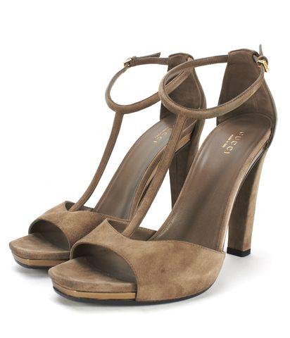 GUCCI Brown Suede T-Strap Heels