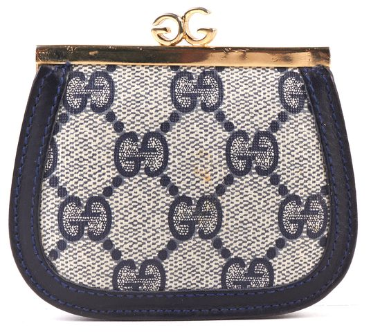 GUCCI Vintage Navy Blue Gray GG Monogram Canvas Kiss Lock Coin Purse