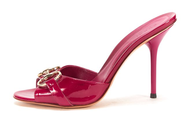 GUCCI Fuchsia Patent Leather Open-toe Horsebit Slip-on Heel Sandals