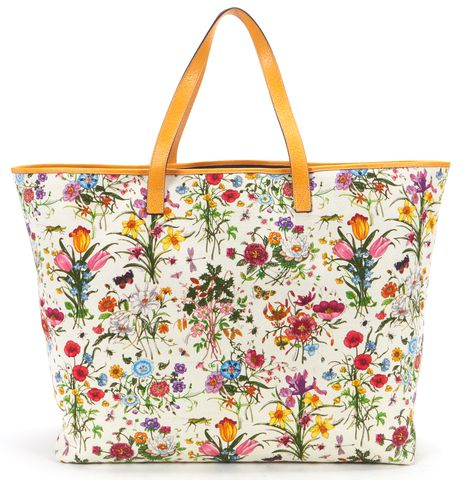 GUCCI White Multi-color Canvas Botanical Floral XL Tote Bag