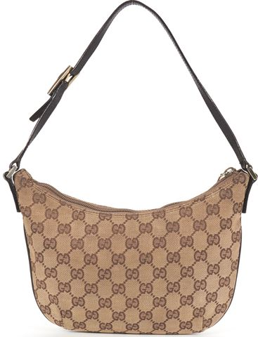 GUCCI Brown GG Canvas Small Shoulder Bag