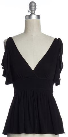 GUCCI Black Pleated V Neck Ruffled Sleeveless Blouse