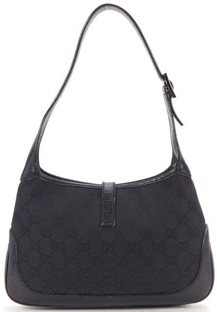 GUCCI Black GG Monogram Canvas Leather Shoulder Bag