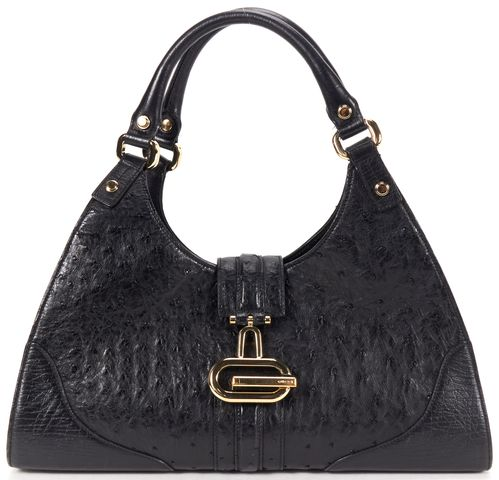 GUCCI Black Ostrich Leather Sherry Shoulder Bag