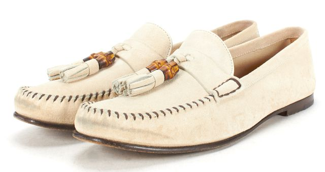 GUCCI Ivory Suede Bamboo Tassel Details Slide On Loafers Size 39