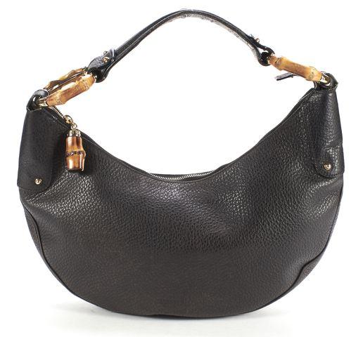 GUCCI Black Pebbled Leather Bamboo Ring Hobo Shoulder Bag
