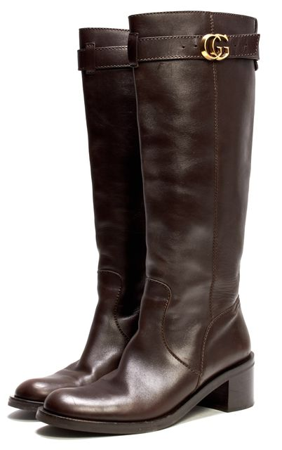GUCCI Brown Leather Gold Logo Detail Casual Knee-high Classic Tall Boots