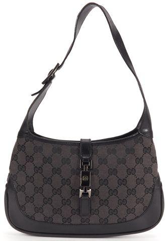 GUCCI Authentic Black GG Monogram Canvas Jackie Shoulder Handbag