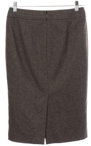 GUCCI Brown Chevron Wool Pencil Skirt