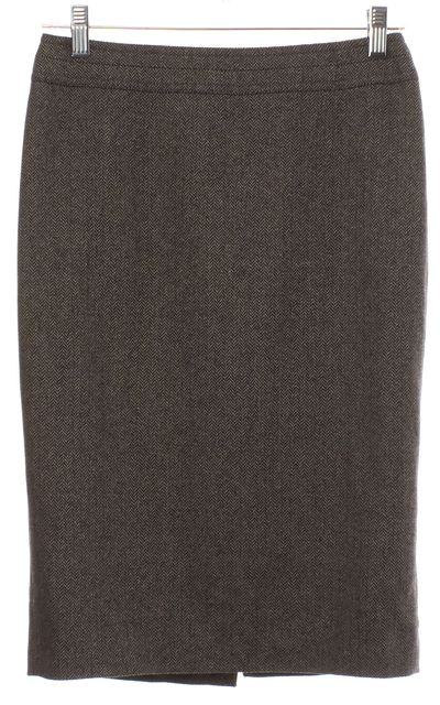 GUCCI Brown Chevron Wool Pencil Skirt