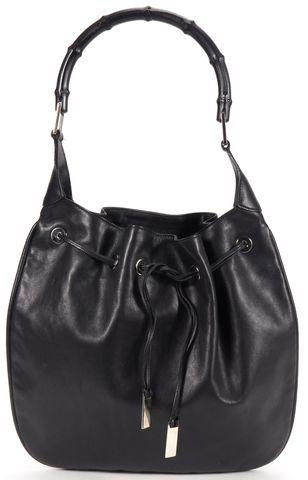 GUCCI Black Leather Bamboo Handle Tie-Top Shoulder Bag