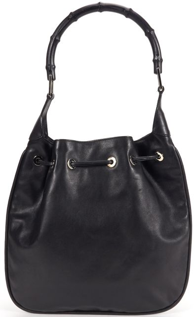 GUCCI Black Leather Bamboo Handle Tie-Top Shoulder Bag