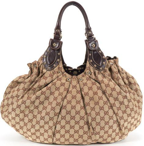 GUCCI Authentic Brown GG Monogram Canvas Leather Trim Large Pelham Shoulder Bag