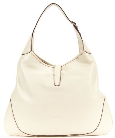 GUCCI Ivory Leather Brown Canvas Stripe Hobo Shoulder Bag