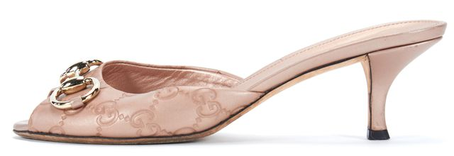 GUCCI Pink Leather GG Guccissima Horsebit Details Slide On Low Heels